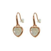 Oxette σκουλαρίκια 03X15-00006 καρδιά από ροζ ορείχαλκο με ημιπολύτιμες πέτρες (Κρύσταλλοι Quartz).