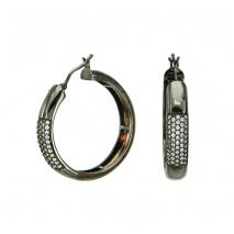 Oxette σκουλαρίκια 03X15-00019 από μαύρο ορείχαλκο με ημιπολύτιμες πέτρες (Κρύσταλλοι Quartz).