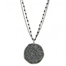 Oxette κολιέ 01X01-04447 από επιπλατινωμένο ασήμι 925ο με ημιπολύτιμες πέτρες (Κρύσταλλοι Quartz).