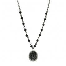 Oxette κολιέ 01X01-04448 από επιπλατινωμένο ασήμι 925ο με ημιπολύτιμες πέτρες (Κρύσταλλοι Quartz).