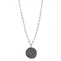 Oxette κολιέ 01X01-04450 από ασήμι 925ο με επιμετάλλωση ρουθηνίου και ημιπολύτιμες πέτρες (Κρύσταλλοι Quartz και Πέρλες).