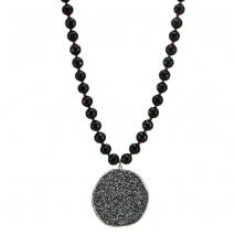 Oxette κολιέ 01X01-04455 από επιπλατινωμένο ασήμι 925ο με ημιπολύτιμες πέτρες (Κρύσταλλοι Quartz).