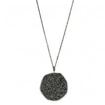 Oxette κολιέ 01X01-04461 από επιπλατινωμένο ασήμι 925ο με ημιπολύτιμες πέτρες (Κρύσταλλοι Quartz).