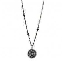 Oxette κολιέ 01X01-04464 από επιπλατινωμένο ασήμι 925ο με ημιπολύτιμες πέτρες (Κρύσταλλοι Quartz).