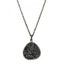 Oxette κολιέ 01X01-04465 από επιπλατινωμένο ασήμι 925ο με ημιπολύτιμες πέτρες (Κρύσταλλοι Quartz).