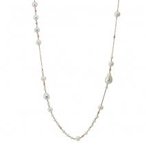 Oxette κολιέ 01X05-01892 από ροζ επιχρυσωμένο ασήμι 925ο με ημιπολύτιμες πέτρες (Πέρλες).