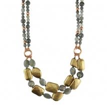 Oxette κολιέ 01X05-01898 από ροζ επιχρυσωμένο ασήμι 925ο με ημιπολύτιμες πέτρες (Λαβραδορίτης).