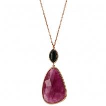 Oxette κολιέ 01X05-01913 από ροζ επιχρυσωμένο ασήμι 925ο με ημιπολύτιμες πέτρες (Κρύσταλλοι Quartz).