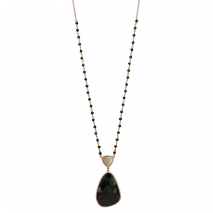 Oxette κολιέ 01X05-01915 ροζάριο από ροζ επιχρυσωμένο ασήμι 925ο με ημιπολύτιμες πέτρες (Κρύσταλλοι Quartz).
