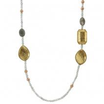 Oxette κολιέ 01X05-01938 από ροζ επιχρυσωμένο ασήμι 925ο με ημιπολύτιμες πέτρες (Λαβραδορίτης και Πέρλες).