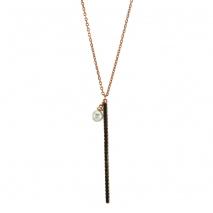 Oxette κολιέ 01X05-01946 από ροζ επιχρυσωμένο ασήμι 925ο με ημιπολύτιμες πέτρες (Ζιργκόν και Πέρλες).
