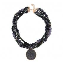 Oxette κολιέ 01X05-01948 από ροζ επιχρυσωμένο ασήμι 925ο με ημιπολύτιμες πέτρες (Κρύσταλλοι Quartz).