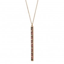 Oxette κολιέ 01X05-01966 από ροζ επιχρυσωμένο ασήμι 925ο με ημιπολύτιμες πέτρες (Ζιργκόν).