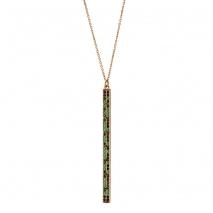 Oxette κολιέ 01X05-01967 από ροζ επιχρυσωμένο ασήμι 925ο με ημιπολύτιμες πέτρες (Ζιργκόν).