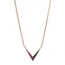 Oxette κολιέ 01X05-01968 από ροζ επιχρυσωμένο ασήμι 925ο με ημιπολύτιμες πέτρες (Ζιργκόν).