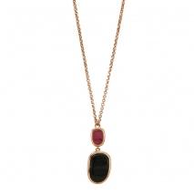 Oxette κολιέ 01X05-01974 από ροζ επιχρυσωμένο ασήμι 925ο με ημιπολύτιμες πέτρες (Κρύσταλλοι Quartz).