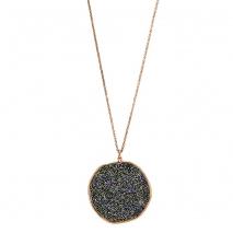 Oxette κολιέ 01X05-01978 από ροζ επιχρυσωμένο ασήμι 925ο με ημιπολύτιμες πέτρες (Κρύσταλλοι Quartz).