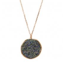Oxette κολιέ 01X05-01979 από ροζ επιχρυσωμένο ασήμι 925ο με ημιπολύτιμες πέτρες (Κρύσταλλοι Quartz).