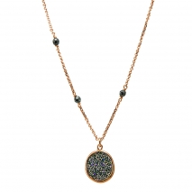 Oxette κολιέ 01X05-01980 από ροζ επιχρυσωμένο ασήμι 925ο με ημιπολύτιμες πέτρες (Κρύσταλλοι Quartz).