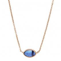 Oxette κολιέ 01X05-01982 από ροζ επιχρυσωμένο ασήμι 925ο με ημιπολύτιμες  πέτρες (Κρύσταλλοι Quartz fd569bb1bbb