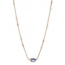 Oxette κολιέ 01X05-01984 από ροζ επιχρυσωμένο ασήμι 925ο με ημιπολύτιμες πέτρες (Κρύσταλλοι Quartz και Πέρλες).