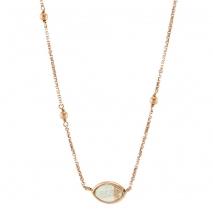 Oxette κολιέ 01X05-02001 από ροζ επιχρυσωμένο ασήμι 925ο με ημιπολύτιμες πέτρες (Κρύσταλλοι Quartz).