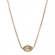 Oxette κολιέ 01X05-02002 από ροζ επιχρυσωμένο ασήμι 925ο με ημιπολύτιμες πέτρες (Κρύσταλλοι Quartz).