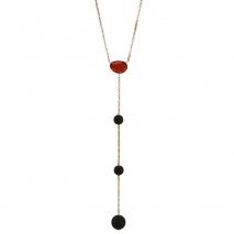 Oxette κολιέ 01X05-02024 από ροζ επιχρυσωμένο ασήμι 925ο με ημιπολύτιμες πέτρες (Κρύσταλλοι Quartz).