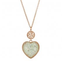 Oxette κολιέ 01X15-00022 καρδιά από ροζ ορείχαλκο με ημιπολύτιμες πέτρες (Κρύσταλλοι Quartz).