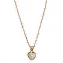 Oxette κολιέ 01X15-00023 καρδιά από ροζ ορείχαλκο με ημιπολύτιμες πέτρες (Κρύσταλλοι Quartz).