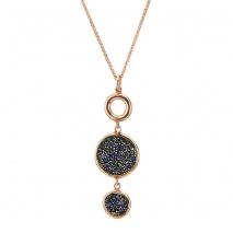 Oxette μενταγιόν 05X05-00517 από ροζ επιχρυσωμένο ασήμι 925ο με ημιπολύτιμες πέτρες (Κρύσταλλοι Quartz).