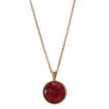 Oxette μενταγιόν 05X15-00002 από ροζ ορείχαλκο με ημιπολύτιμες πέτρες (Κρύσταλλοι Quartz).