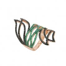 Oxette δαχτυλίδι 04X01-03456 από ροζ επιχρυσωμένο ασήμι 925ο με ημιπολύτιμες πέτρες (Ζιργκόν).