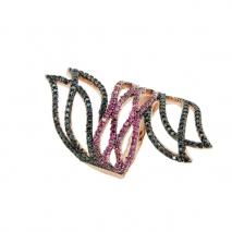 Oxette δαχτυλίδι 04X01-03457 από ροζ επιχρυσωμένο ασήμι 925ο με ημιπολύτιμες πέτρες (Ζιργκόν).