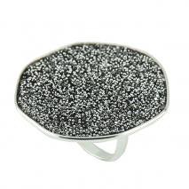 Oxette δαχτυλίδι 04X01-03460 από επιπλατινωμένο ασήμι 925ο με ημιπολύτιμες πέτρες (Κρύσταλλοι Quartz).