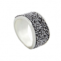 Oxette δαχτυλίδι 04X01-03466 από επιπλατινωμένο ασήμι 925ο με ημιπολύτιμες πέτρες (Κρύσταλλοι Quartz).