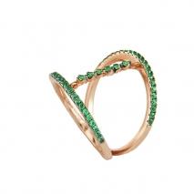 Oxette δαχτυλίδι 04X05-01219 από ροζ επιχρυσωμένο ασήμι 925ο με ημιπολύτιμες πέτρες (Ζιργκόν).