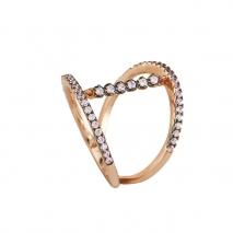Oxette δαχτυλίδι 04X05-01221 από ροζ επιχρυσωμένο ασήμι 925ο με ημιπολύτιμες πέτρες (Ζιργκόν).