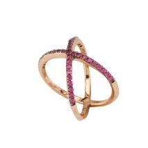 Oxette δαχτυλίδι 04X05-01226 από ροζ επιχρυσωμένο ασήμι 925ο με ημιπολύτιμες πέτρες (Ζιργκόν).