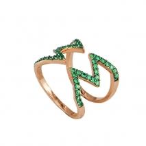 Oxette δαχτυλίδι 04X05-01228 από ροζ επιχρυσωμένο ασήμι 925ο με ημιπολύτιμες πέτρες (Ζιργκόν).