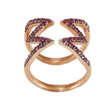 Oxette δαχτυλίδι 04X05-01229 από ροζ επιχρυσωμένο ασήμι 925ο με ημιπολύτιμες πέτρες (Ζιργκόν).