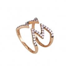 Oxette δαχτυλίδι 04X05-01230 από ροζ επιχρυσωμένο ασήμι 925ο με ημιπολύτιμες πέτρες (Ζιργκόν).