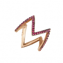 Oxette δαχτυλίδι 04X05-01235 από ροζ επιχρυσωμένο ασήμι 925ο με ημιπολύτιμες πέτρες (Ζιργκόν).