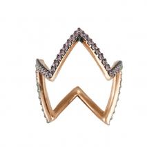 Oxette δαχτυλίδι 04X05-01236 από ροζ επιχρυσωμένο ασήμι 925ο με ημιπολύτιμες πέτρες (Ζιργκόν).