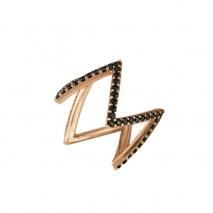 Oxette δαχτυλίδι 04X05-01237 από ροζ επιχρυσωμένο ασήμι 925ο με ημιπολύτιμες πέτρες (Ζιργκόν).