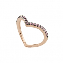 Oxette δαχτυλίδι 04X05-01243 καρδιά από ροζ επιχρυσωμένο ασήμι 925ο με ημιπολύτιμες πέτρες (Ζιργκόν).