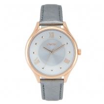 Oxette ρολόι 11X65-00177 από ανοξείδωτο ατσάλι με ροζ χρυσή επιμετάλλωση στην κάσα και δερμάτινο λουράκι.