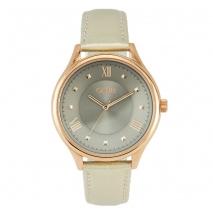 Oxette ρολόι 11X65-00178 από ανοξείδωτο ατσάλι με ροζ χρυσή επιμετάλλωση στην κάσα και δερμάτινο λουράκι.