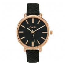 Oxette ρολόι 11X65-00181 από ανοξείδωτο ατσάλι με ροζ χρυσή επιμετάλλωση στην κάσα και δερμάτινο λουράκι.