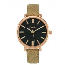 Oxette ρολόι 11X65-00182 από ανοξείδωτο ατσάλι με ροζ χρυσή επιμετάλλωση στην κάσα και δερμάτινο λουράκι.